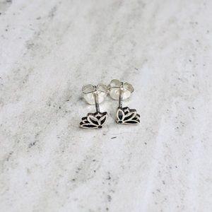 925 Sterling Silver Lotus Stud Earrings